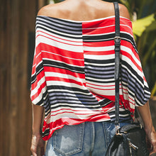 Load image into Gallery viewer, Sexy Stripe Off-The-Shoulder Print T-Shirt