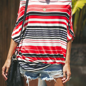 Sexy Stripe Off-The-Shoulder Print T-Shirt
