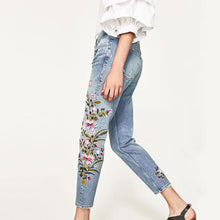 Load image into Gallery viewer, Mid Waist Embroidery Denim Women's Pants