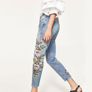 Mid Waist Embroidery Denim Women's Pants