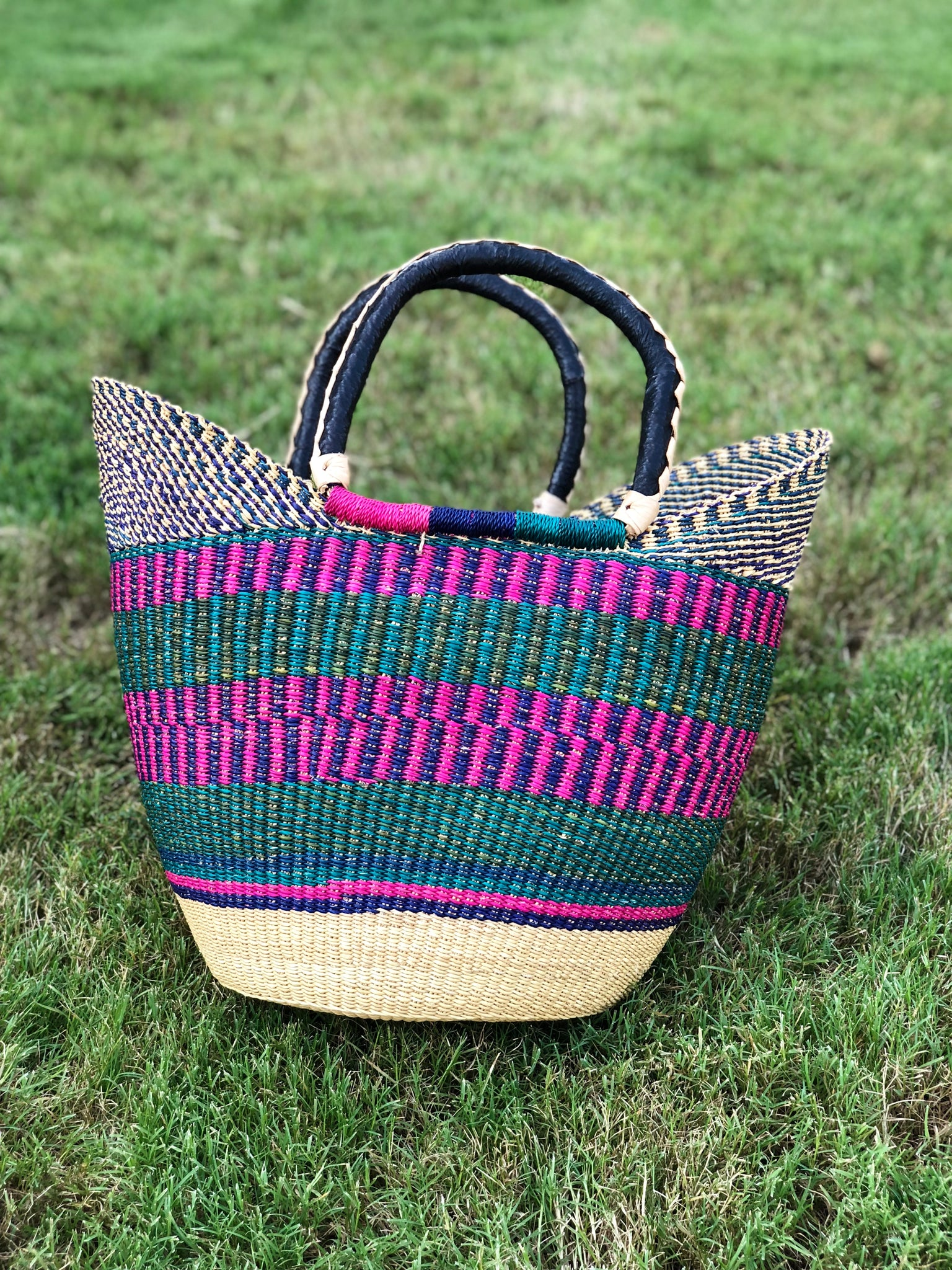 Hand Woven Jamestown Ghanaian Baskets with leather handles