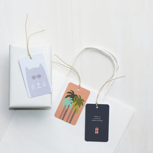 'Cool Cat', 'Palm Trees' and 'Just a little Something' gift tags, made in Australia.