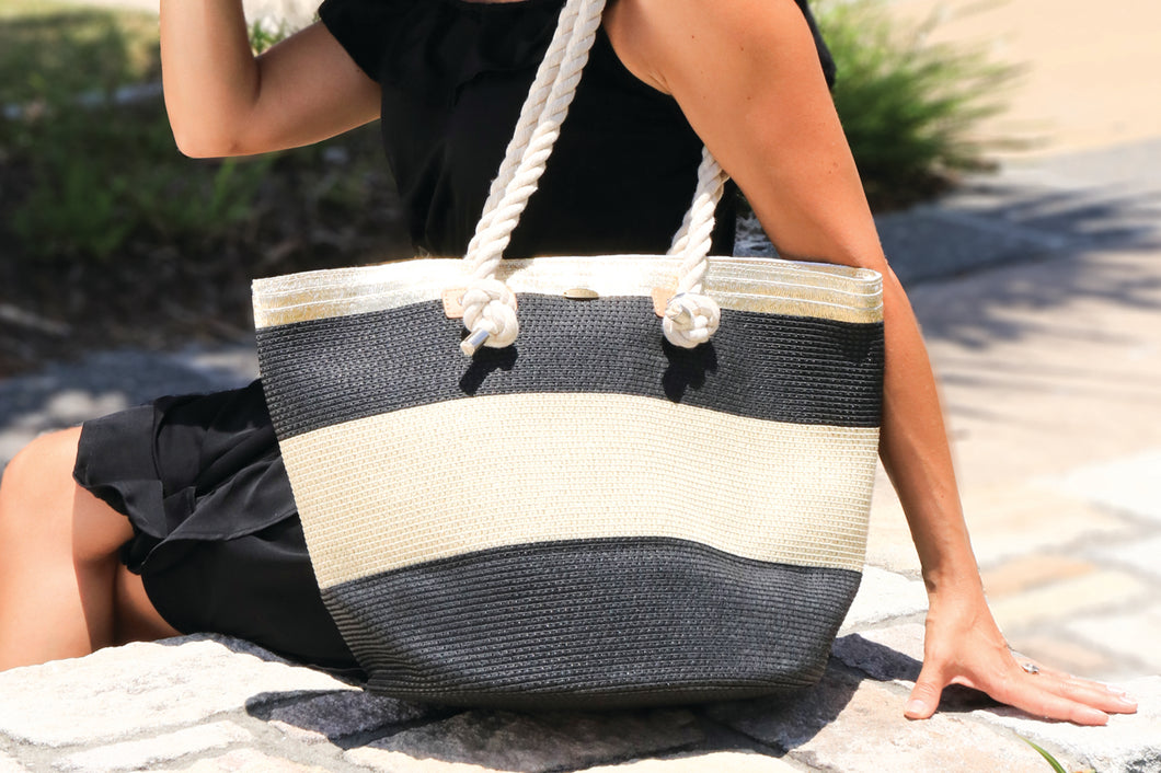 Bling - Black/Gold Stripe Beach Bag