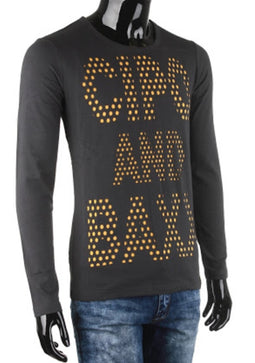 CIPO & BAXX LONG SLEEVE ROUND NECK T SHIRT SWEATER, ANTHRACITE