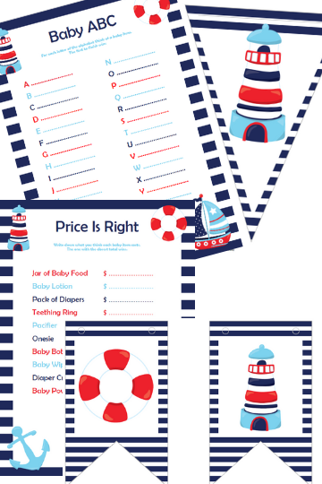 Nautical Printable Baby Shower Games
