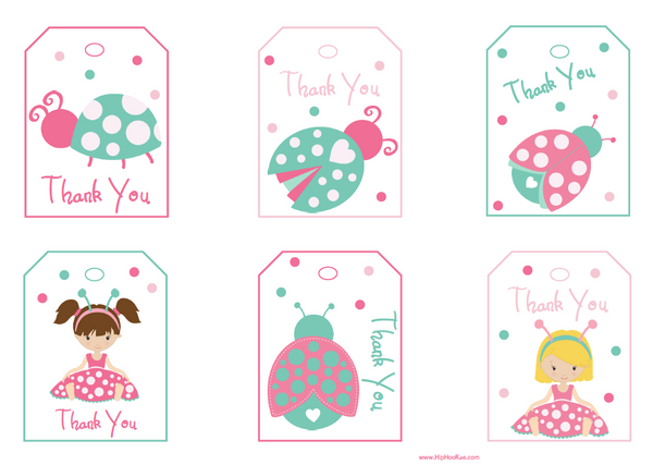 Lady Bug Thank You Gift Tags in Pastel Colors