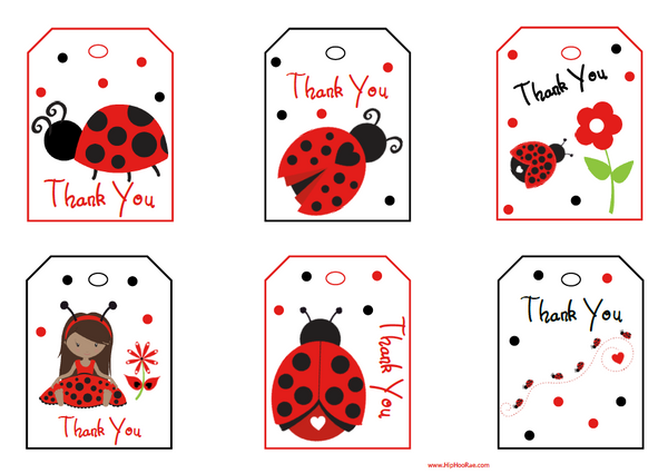 Lady Bug Thank You Gift Tags in Red and Black