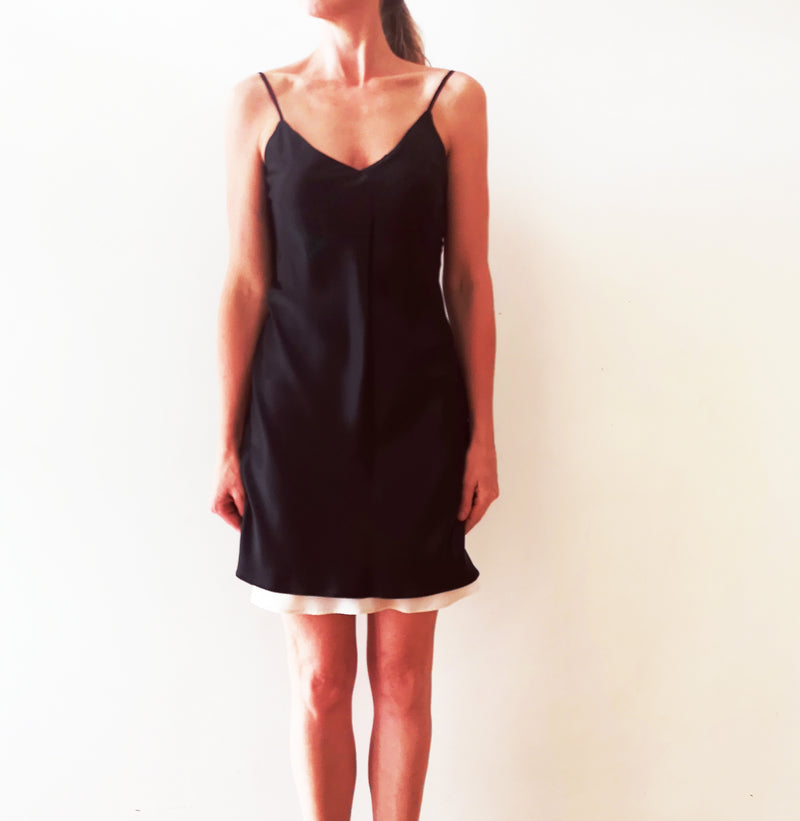 Double-layer silk slip dress