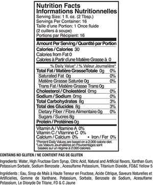 Jelly Belly Piña Colada Syrup Nutrition Label