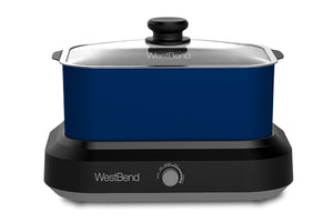 West Bend 5 Qt. Oblong Slow Cooker with Tote, Blue