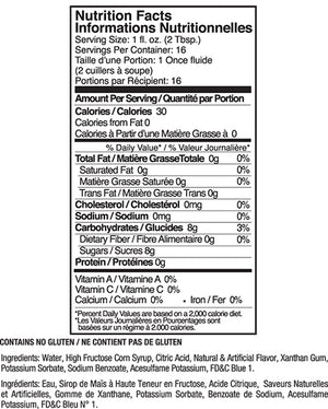 Jelly Belly Berry Blue Syrup Nutrition Label