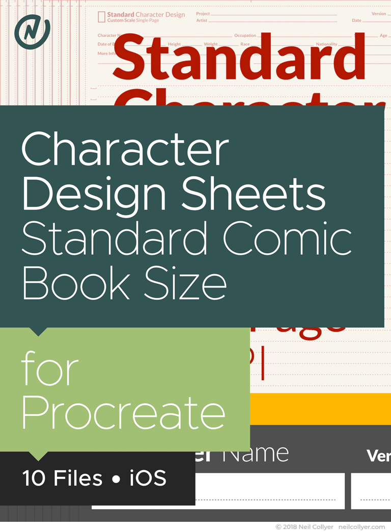 Character Design Sheets in Standard Size for Procreate