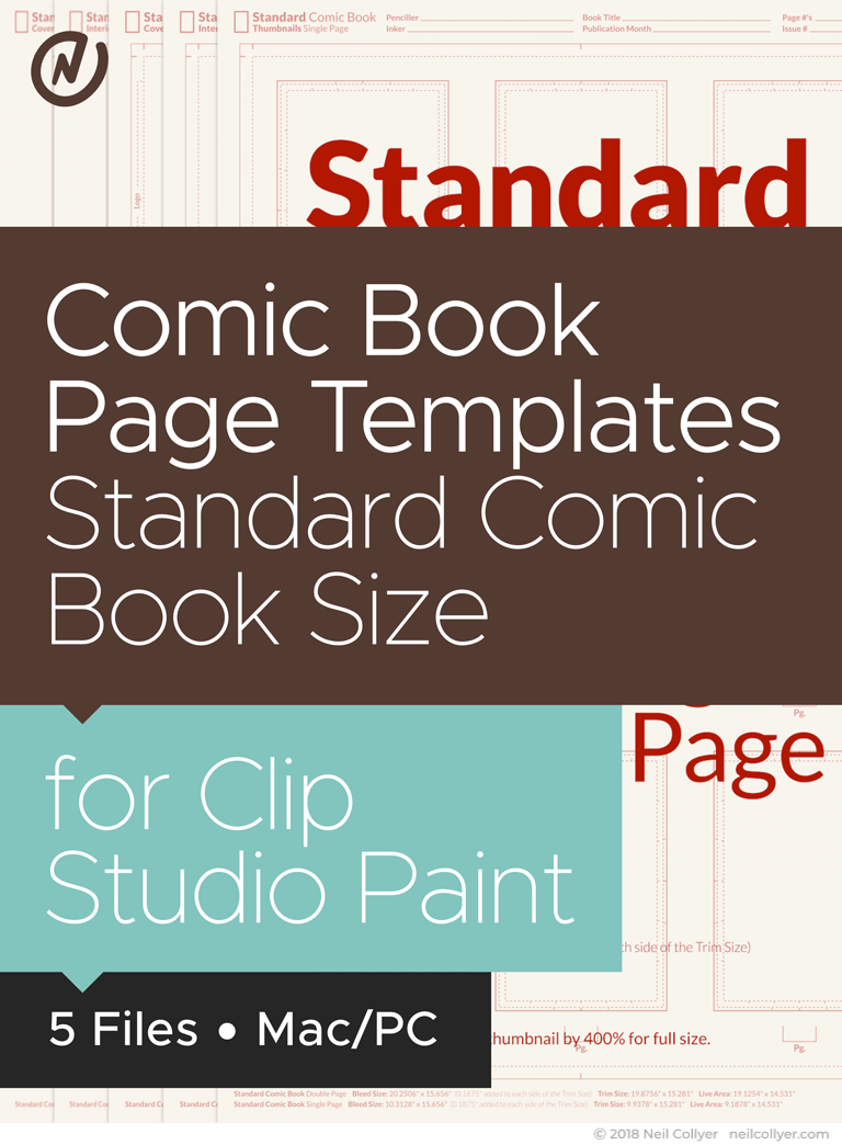 Comic Book Page Templates in Standard Comic Book Size for Clip Studio Paint