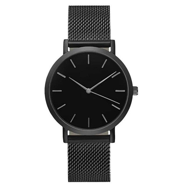 Stainless Steel Mesh Band Watch - Black - Mechanical Watches