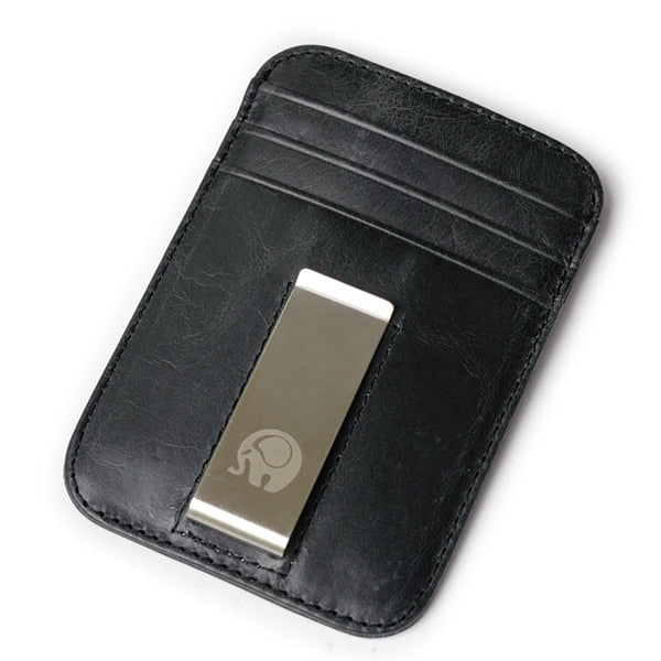 Front Pocket Money Clip Wallet - Black - Front Pocket & Money Clip Wallet