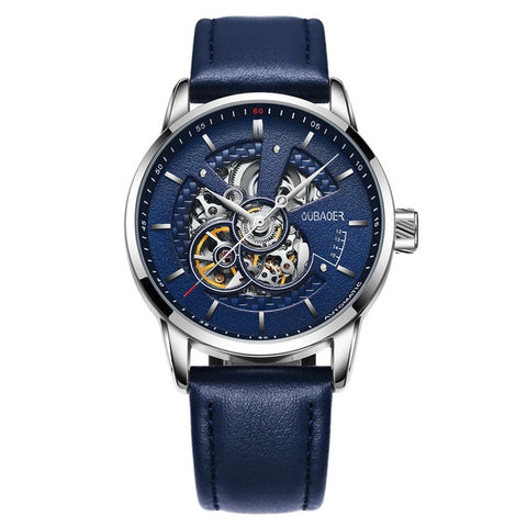 Skeleton Watch Various Colors - Silver Blue - Mechanical Watches