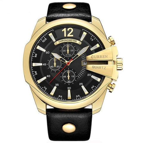 Stylish Mens Quartz Watch - Golden Black - Mechanical Watches