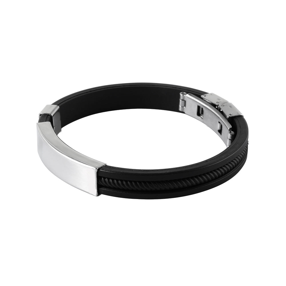 Silicone Stainless Steel Bracelet - Bracelets