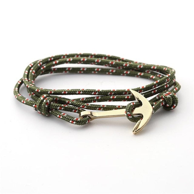 Gold Alloy Anchor Rope Bracelet - Green - Bracelets