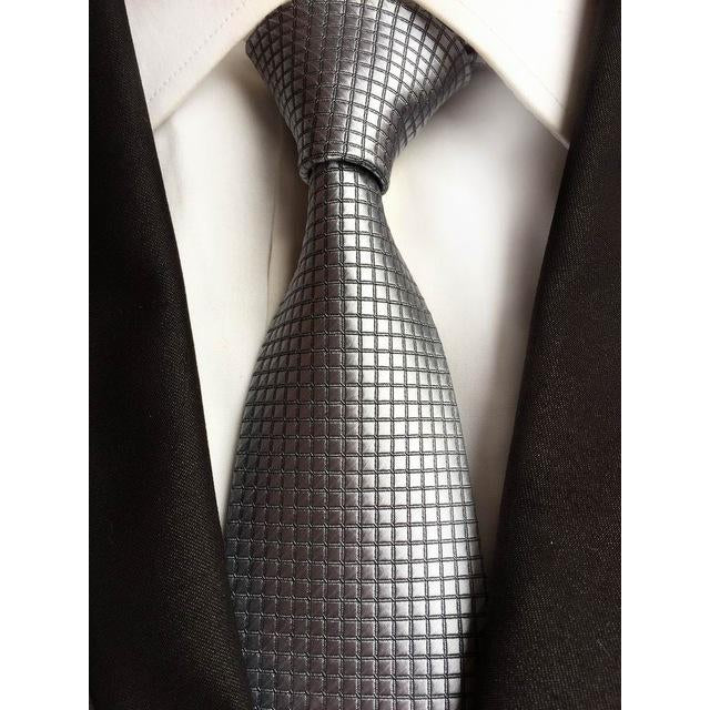 Silver Necktie With Squares
