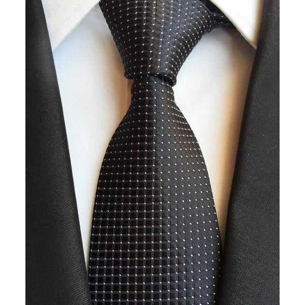 Black Necktie With Squares And White Dots