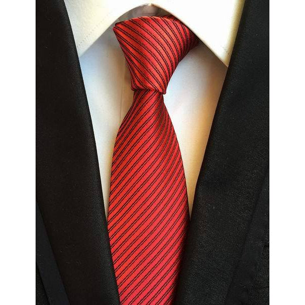 Mens Red Necktie with Thin Black Stripes