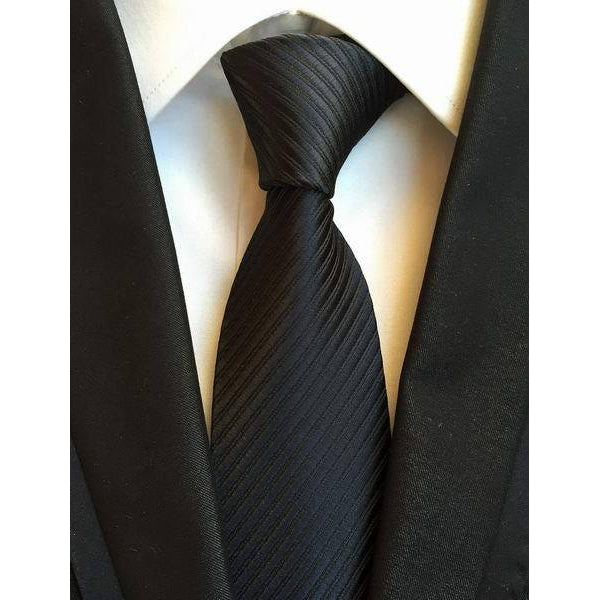 Solid Black Necktie With Stripes