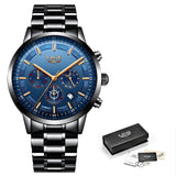 Stainless Steel Mens Dress Watch - Black Rose Blue - Mechanical Watches