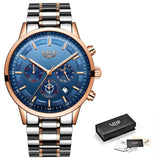 Chronograph Stainless Steel Band Watch - Rose Gold Blue