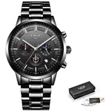 Chronograph Stainless Steel Band Watch - All Black