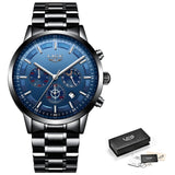 Chronograph Stainless Steel Band Watch - Black Blue