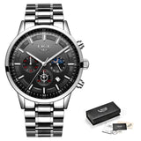 Chronograph Stainless Steel Band Watch - Silver Black