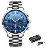 Chronograph Stainless Steel Band Watch - Silver Blue