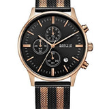 Chronograph Stainless Steel Watch With Mesh Strap - Black-Rose