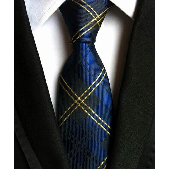 Dark Blue Necktie With Gold Trim
