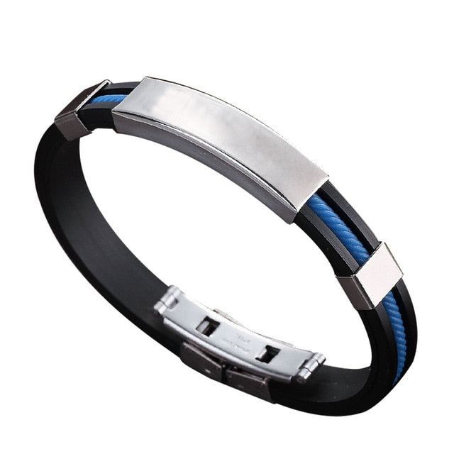 Stainless Steel And Rubber Bracelet - Light Blue - Bracelets