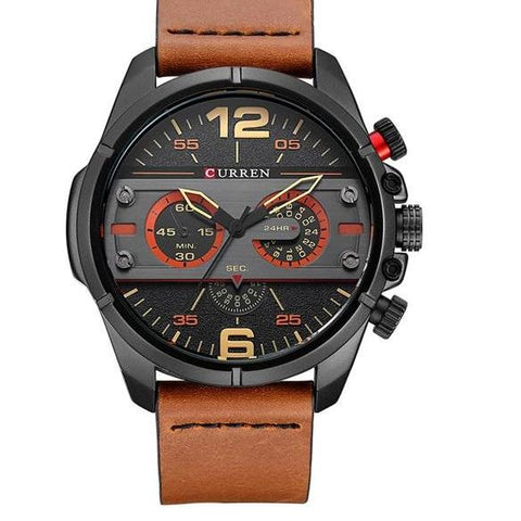 Leather Quartz Sport Watch - 1 - Watches