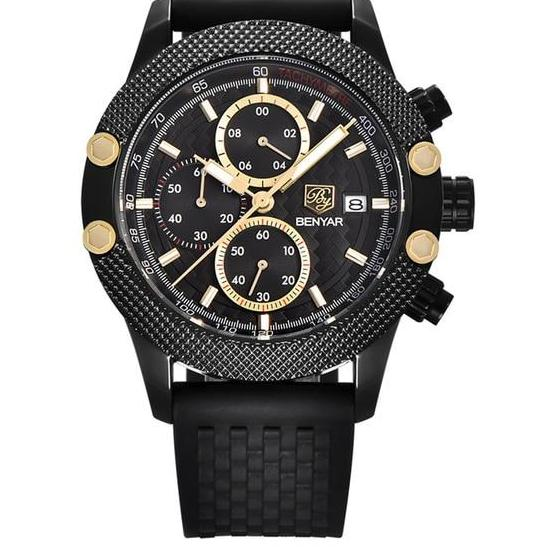 Black Chronograph Watch With Mesh Band - Rubber Black - Watches