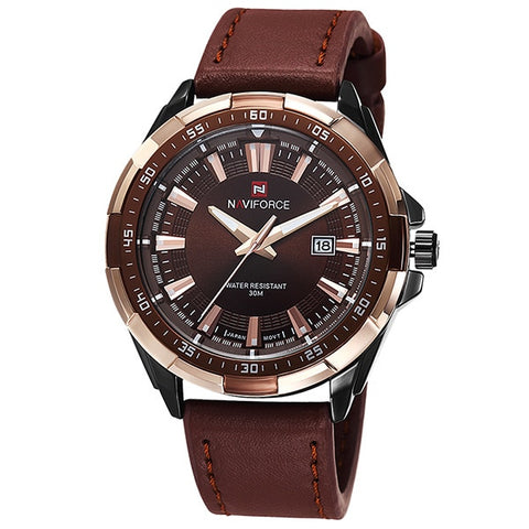 Leather Casual Watch With Date - Black Gold - Leather Watches