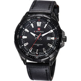 Leather Casual Watch With Date - Black - Leather Watches