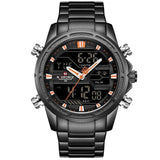 Military Dual Display Watch - Black Orange - Mechanical Watches
