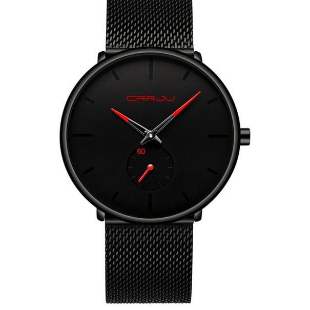 Black Face Minimalist Watch With Colored Hands - Black Red - Watches