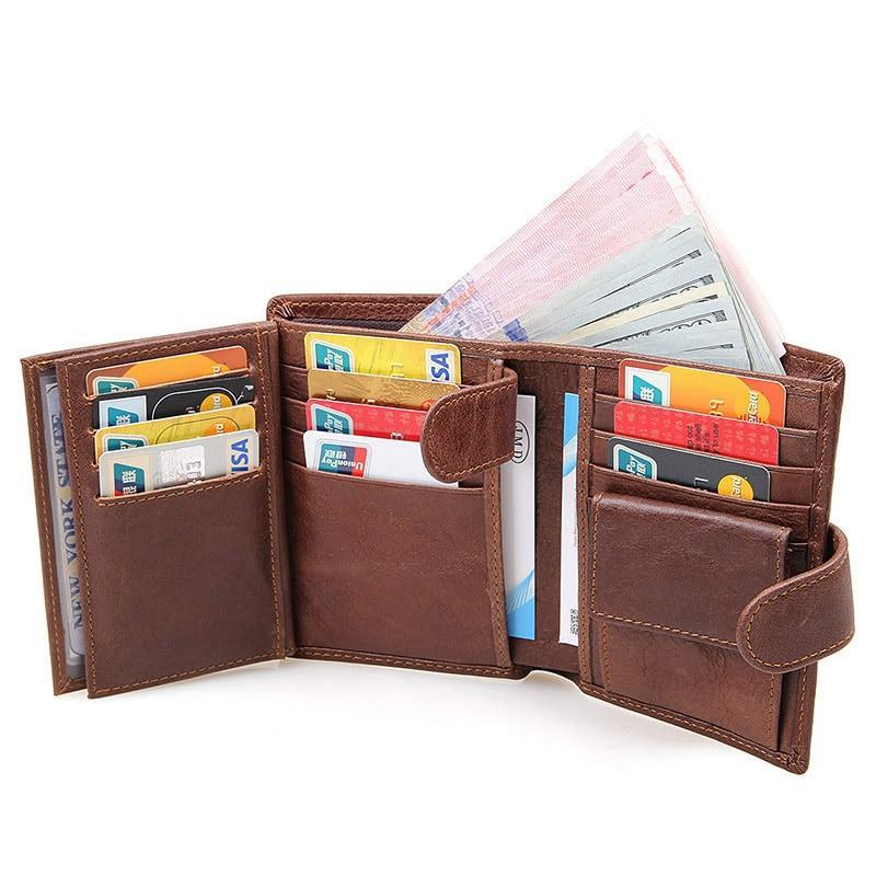 Leather Wallet With Zipper Compartment - Minimalist Wallets For Men