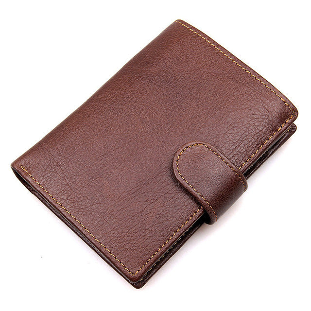 Leather Wallet With Zipper Compartment - Coffee - Minimalist Wallets For Men