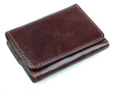 Trifold Leather Wallet - Chocolate - Trifold Wallet