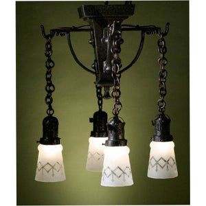 Hammered Close Ceiling Arts and Crafts 4 Light, Vintage Glass Shades