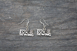 Sewing Jewelry- Sewing Gift, Love Sewing Earrings, Sewing Gifts, Perfect Gift for Quilters or Sewers