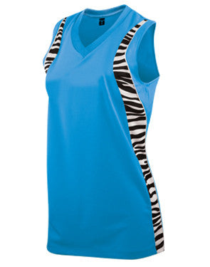 Ladies Zebra Racerback Softball Jersey Electric Blue/Zebra