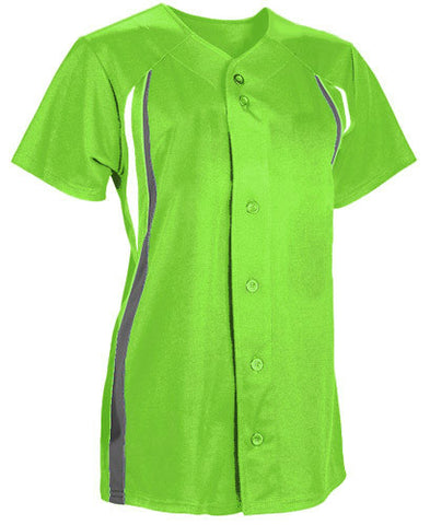 Ladies Change-Up Full Button Softball Jersey Fluorescent Green/Graphite/White
