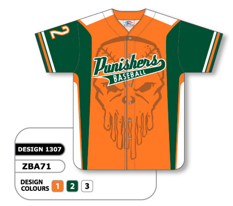 ZBA71-1307 Custom Sublimated Full Button Baseball Jersey